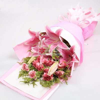 11朵粉色康乃馨百合,爱更伟大强子花店