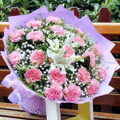 19朵粉色康乃馨,思念与祝福向阳花店