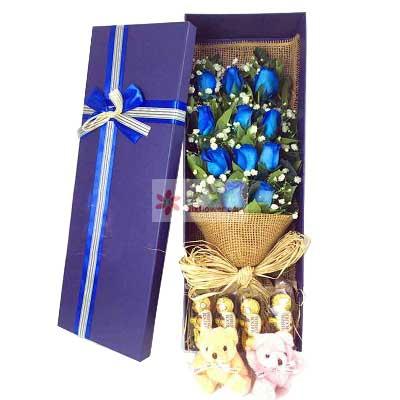 鄞州区友好鲜花11朵蓝色玫瑰,12颗巧克力,鲜花代表我的心
