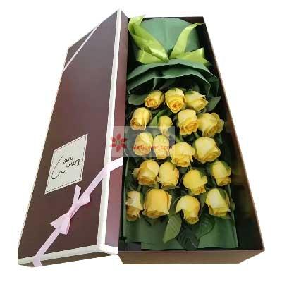 大邑县兰心花艺19朵黄玫瑰礼盒,一生的最爱