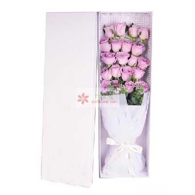20朵紫玫瑰,一生永不分离婷婷鲜花店
