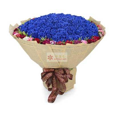 宁乡心艺花卉99朵蓝色玫瑰,耀眼的火花