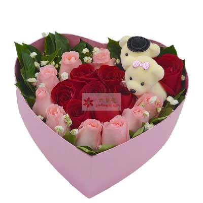 上海兰兰花店18朵玫瑰,礼盒装,让我爱你一生一世