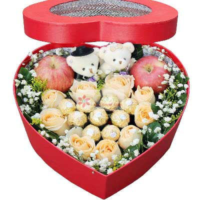 9朵香槟玫瑰,礼盒装苹果鲜花,每天都爱你长沙花心思