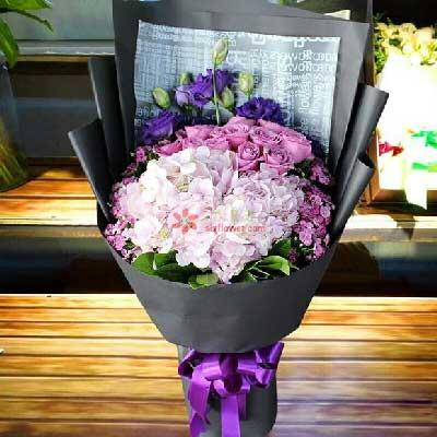 11朵紫玫瑰,2只粉色绣球花,爱你永远彩虹花屋