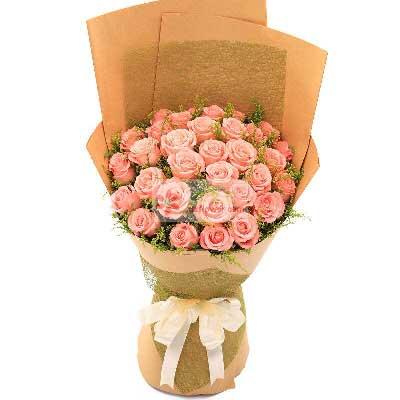 29朵戴安娜粉玫瑰,一生快乐金堂花先生鲜花婚庆