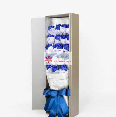 锦官城花艺19支蓝色玫瑰,潇洒的爱意