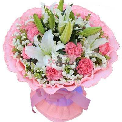 温州暗香花坊12朵粉色康乃馨,3支多头白色百合,幸福永远