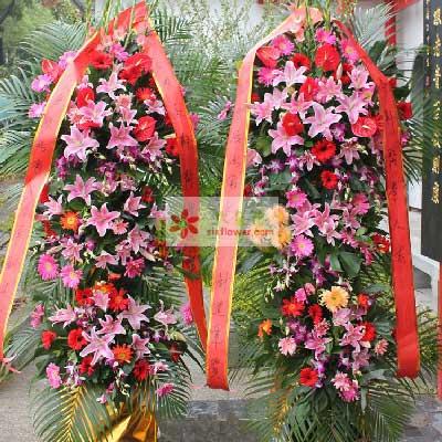16朵粉百合,三层开业花篮,财源茂盛花如语花坊