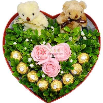 3朵戴安娜粉玫瑰,8颗巧克力,相爱的感觉十里桃花花坊