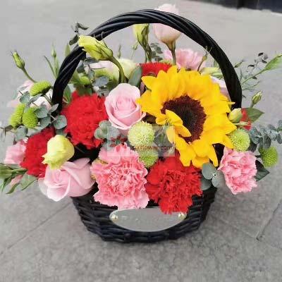富阳百草园花艺玫瑰+康乃馨,小花篮,平安祝福