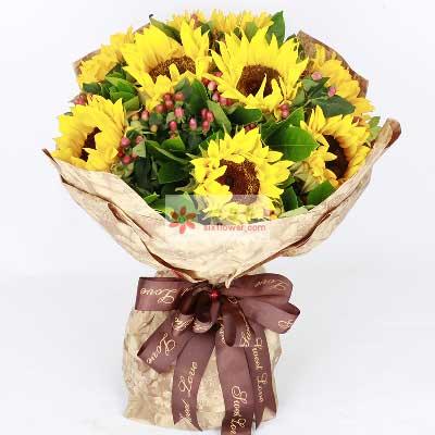 百年好合花艺12朵向日葵,生活越来越圆美