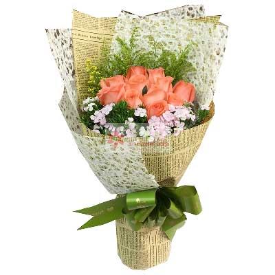 青岛胶州卉蕾鲜花店11朵艳粉玫瑰,你是我的好风景与人生领悟