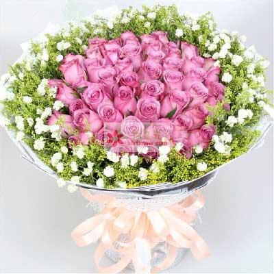 34朵紫玫瑰,你是我宁静的港湾恋人花坊丰台店