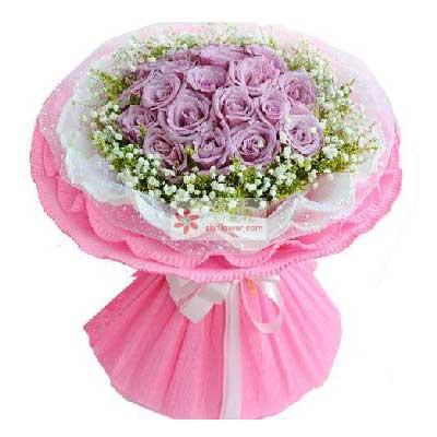 Mico米可花艺19朵紫玫瑰,愿与你开启浪漫人生路
