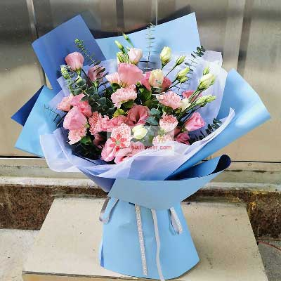蒲江花房9朵粉玫瑰,16朵粉色桔梗,我永远爱您
