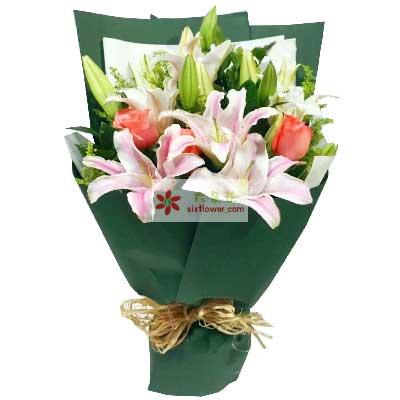 爱你的心不变/6支百合玫瑰花与礼物