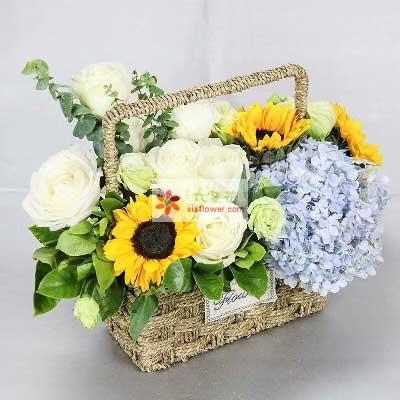 99鲜花坊南岸分店健康如意/5枝向日葵9枝玫瑰