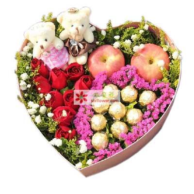 深圳龙岗无忧花坊9支红玫瑰巧克力,苹果礼盒,爱你永不变