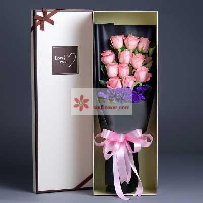誓言不变/11枝粉色玫瑰礼盒庄河晶晶花艺