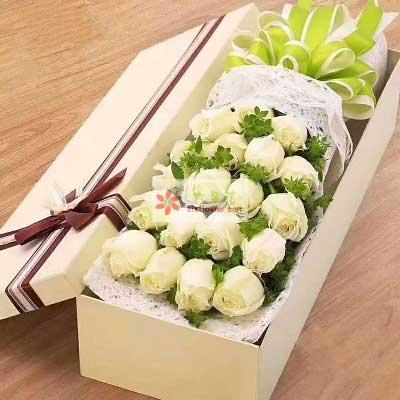 金堂花先生鲜花婚庆深爱着你/21支白色玫瑰礼盒