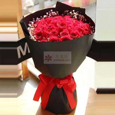 对你的牵挂/19支红色玫瑰增城良缘花坊
