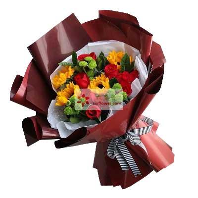 每天爱你多一些/11支红色玫瑰向日葵
