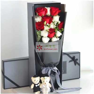 有你人生更加精彩/11支玫瑰礼盒沁香阁鲜花礼品