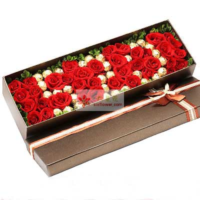 共同寻找幸福快乐/39支玫瑰巧克力礼盒方圆鲜花