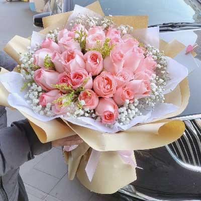每天爱你多一些/33枝粉玫瑰上海花姑子