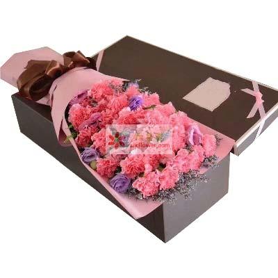果然有花花儿捎去我的情/26支粉色康乃馨礼盒