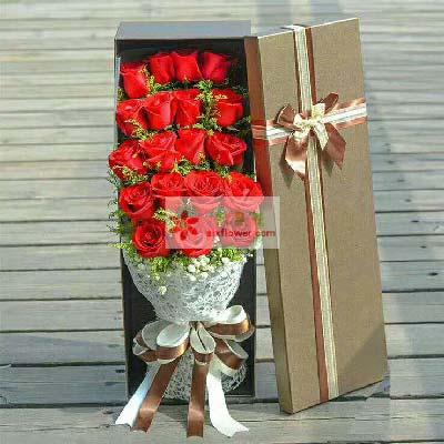 让你更快乐美丽/19支玫瑰礼盒幸福花艺