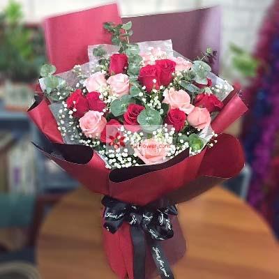 锦官城花艺17支玫瑰/永远在一起
