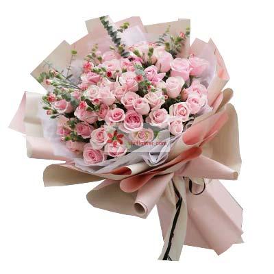 66支粉色佳人/爱你之情永不间断南京花卉