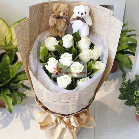 江宁好美鲜花蛋糕12支白玫瑰/无边的爱