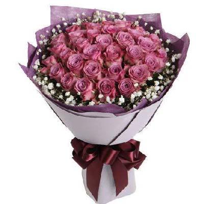 19支紫玫瑰玫瑰/深情的注视大连香朵花艺