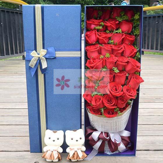 33支红玫瑰礼盒/你是我今生最美的风景深圳龙岗无忧花坊