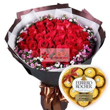 婷婷鲜花店33支红玫瑰+巧克力/对你一生的爱