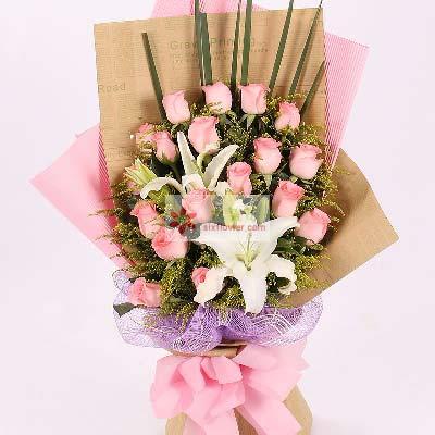 紫云阁鲜花店17朵戴安娜玫瑰/爱永远