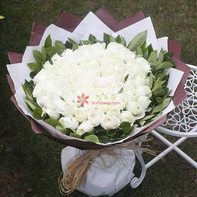 优昙花屋99朵白玫瑰,拥抱幸福