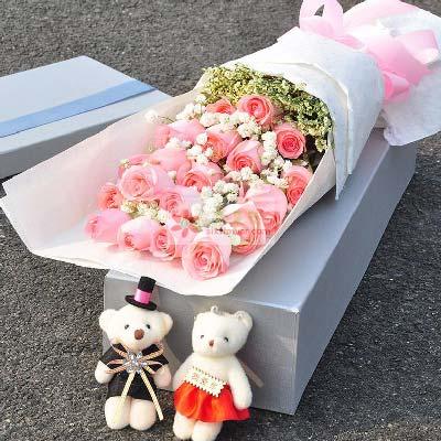 99鲜花坊南岸分店19朵戴安娜玫瑰礼盒,青春美丽属于你