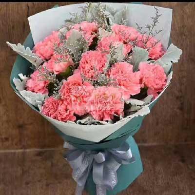 一号花店(爱尚鲜花店)12朵粉色康乃馨,永远年轻