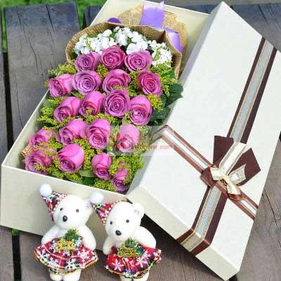 19朵紫玫瑰,爱很真很深琦琦花卉