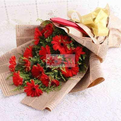 惠州惠阳子艺花缘坊16朵红色扶郎花,幸福生活