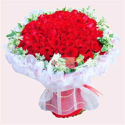 花蜜花艺鲜花店99朵红玫瑰,我爱你一生一世