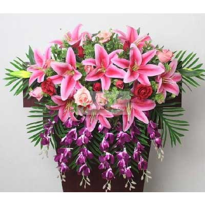 光明新区百合花坊玫瑰百合组合,讲台花,会议花,主席台花