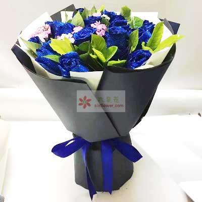 11朵蓝玫瑰,说一声好爱你天津百合塘沽店