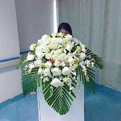 20朵白玫瑰,会议讲台主席台花鄞州区友好鲜花