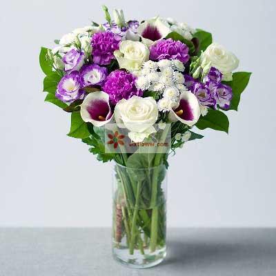 3朵马蹄莲,11朵紫色桔梗,安心做一个凡人云裳花坊