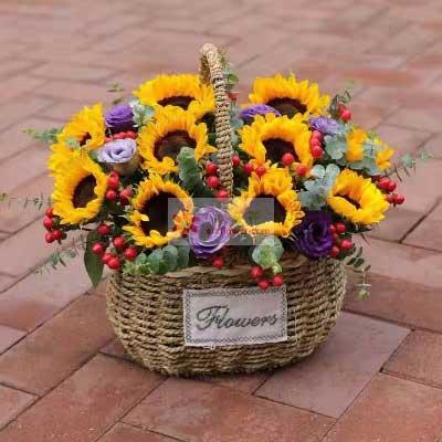 一号花店(爱尚鲜花店)12朵向日葵,悄悄地支持着你
